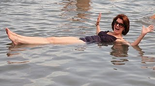 Sarah floating in the Dead Sea