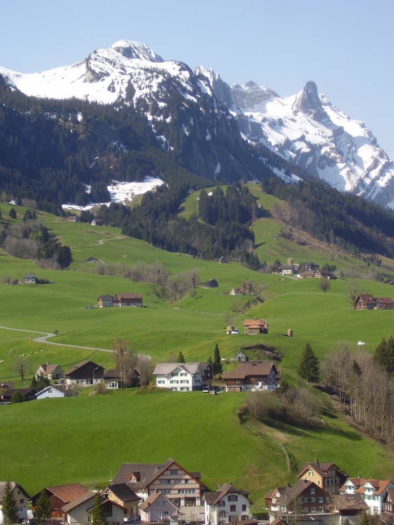 Appenzell countryside framed by the 8,000-foot-high Alpstein range