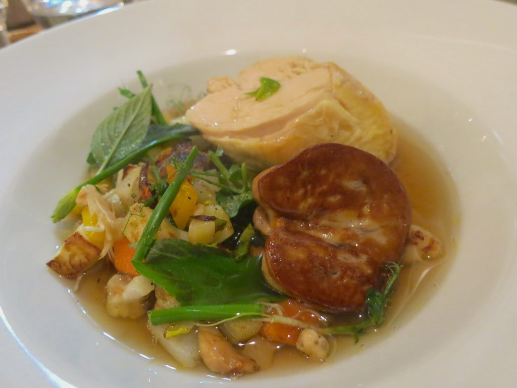 L'Atelier Rodier Chicken pot au feu with bouillon