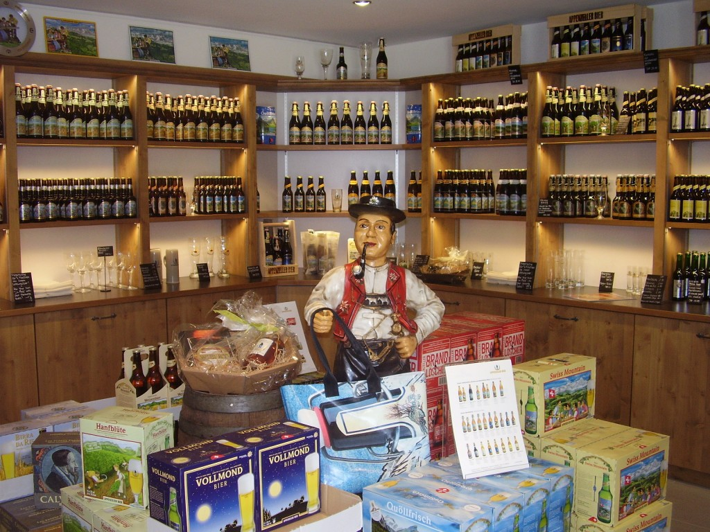 Beers and other wares at the Appenzeller Brewery Town of Appenzell