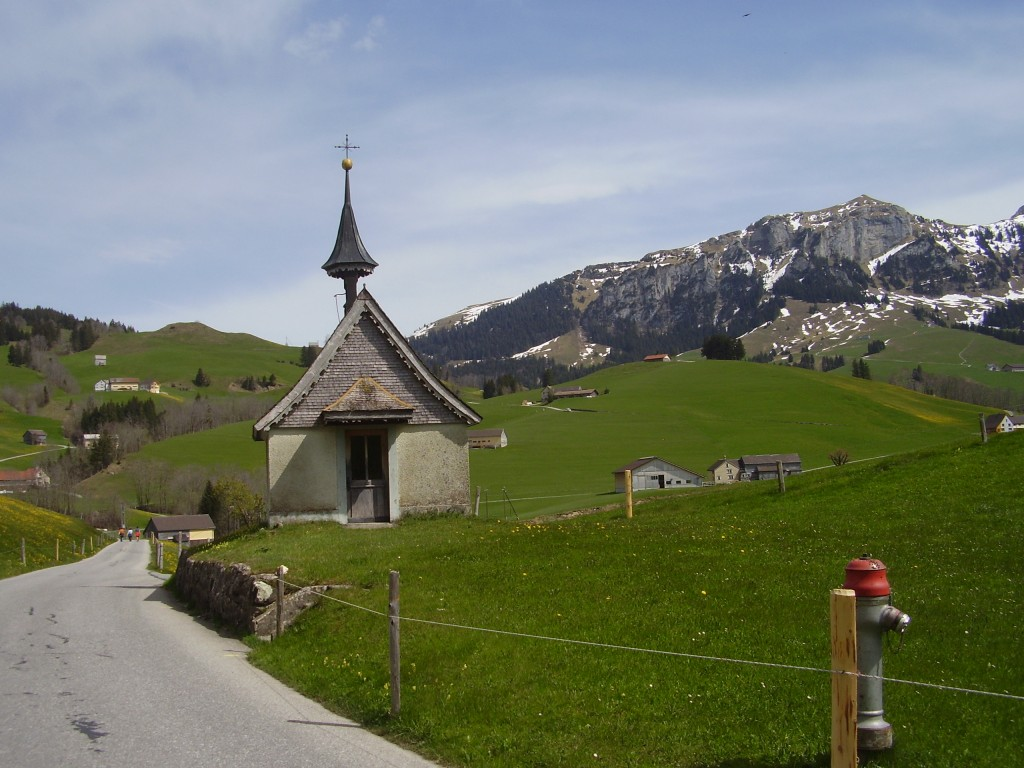 Bucolic mountain road in the Alpstein