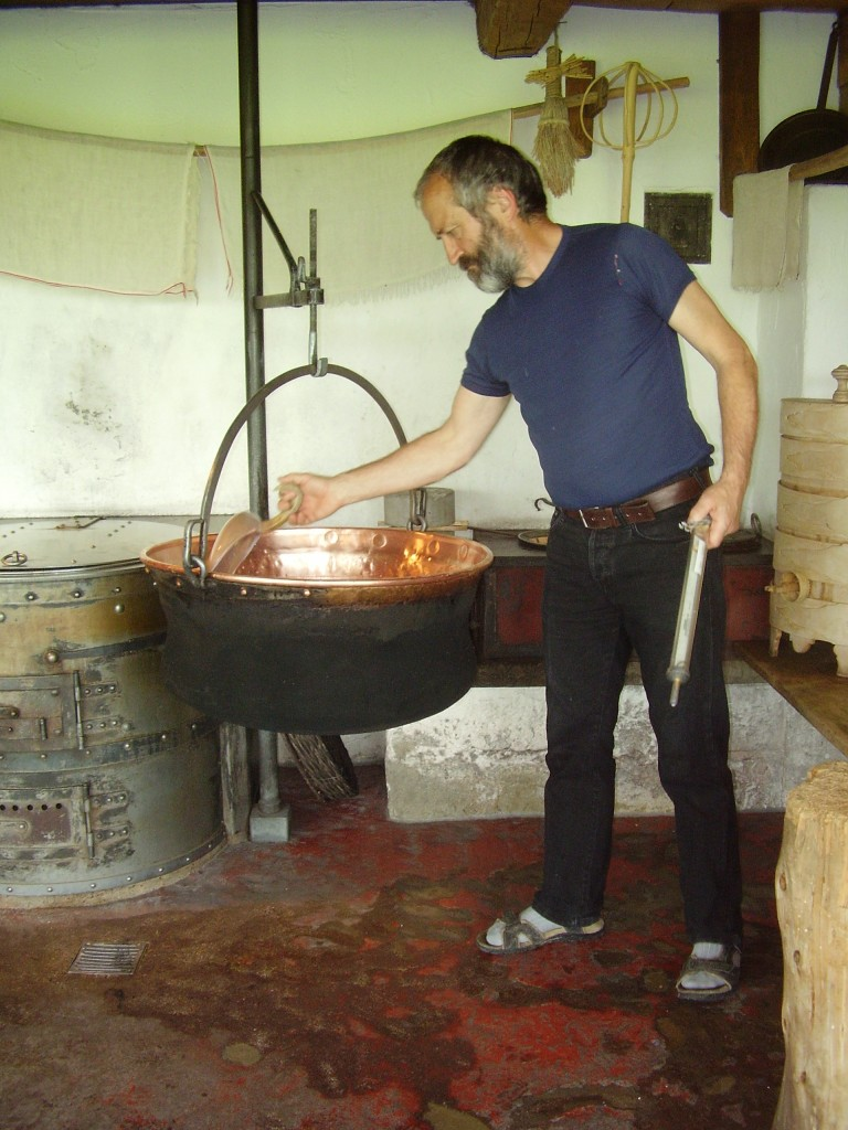 Cheese making, the old fashioned way, at the Appenzeller Volkskunde Museum, Town of Stein