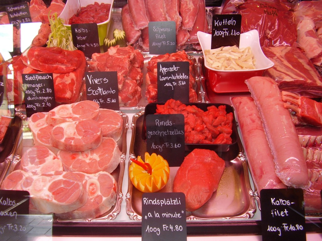 Farm fresh meats at Specialitaten Metz Wetter butcher shop, Town of Appenzell