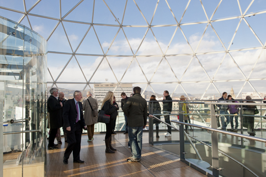 Platform at top of glass-domed, multi-level shopping center, Victoria Square, with a 360-degree view of Belfast, Northern Ireland