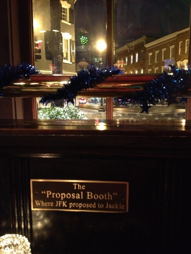 Proposal Booth in Martin's Tavern, Georgetown
