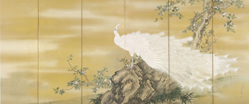 Mochizuki Gyokkei ( Japanese, 1874–1939) White Peafowl, Japan, Meiji period (1868–1912), 1908 Pair of six-panel folding screens; ink, color, gold, and gold-leaf dust on silk Image: 59 1/4 x 141 in. (150.5 x 358.1 cm) John C. Weber Collection