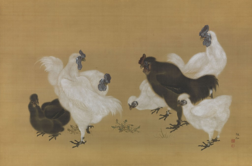 Mori Sosen (Japanese, 1747–1821) Silkies (Ukokkei) Japan, Edo period (1615–1868), before 1808 Hanging scroll; ink and color on silk Image: 33 3/4 x 51 in. (85.7 x 129.5 cm)  Fishbein-Bender Collection