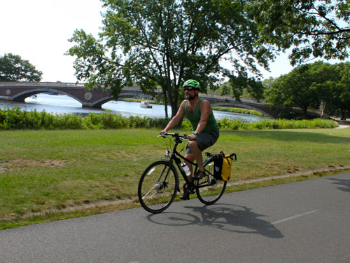 Biking along the Charles River in Boston