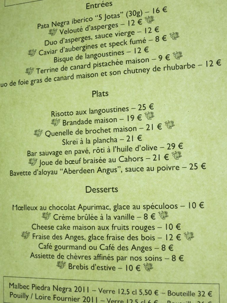 Menu at La Table des Anges, Paris