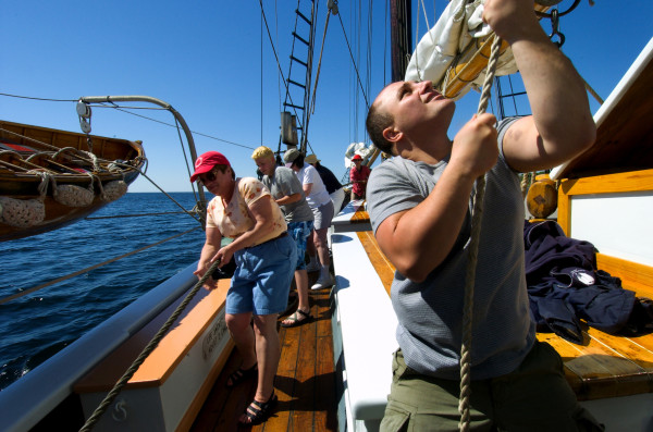 Hauling aboard the Lewis R. French. Photo by Bridget Besaw Gorman.