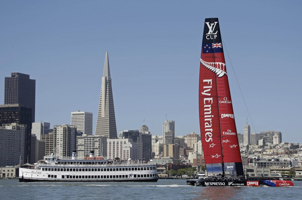 Emirates New Zealand, one of the contenders for America's Cup, in San Francisco Bay.