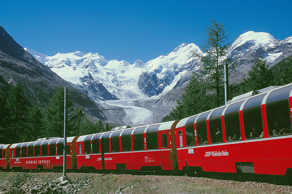 The Bernina Express, one of the trains you can ride with your First Class Swiss Pass from Rail Europe