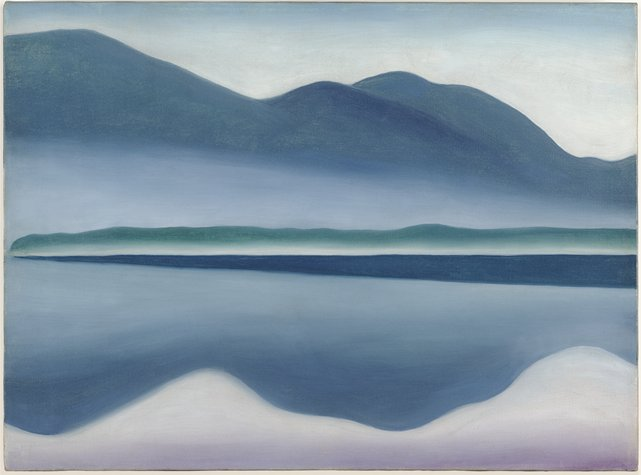 A painting of Lake George in the Adirondacks by Georgia O'Keefe