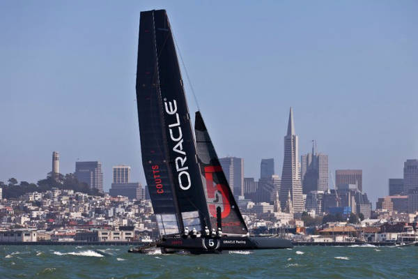 Oracle, Larry Elliosn's defending boat in America's Cup in San Francisco this summer.
