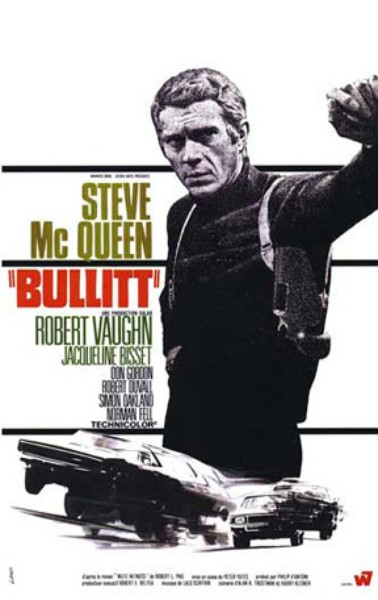 Bullitt, one of Larry Olsted's Top 10 Picks for Domestic Movies to watch while flying
