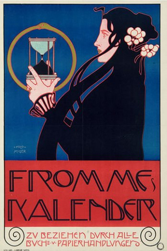 "Koloman Moser poster for ""Frommes Kalendar"" 1899 Execution: Albert Berger, Vienna Colored lithograph on paper Serge Sabarsky Collection, New York"