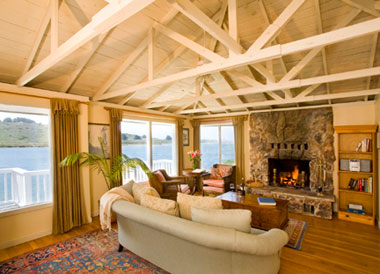 Interior of The Rosewater cottage at The Jenner Inn, Jenner, California