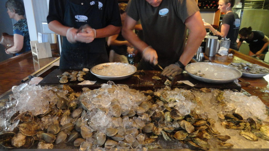 Shucking oysters -- what else -- at Matunuck Oyster Bar