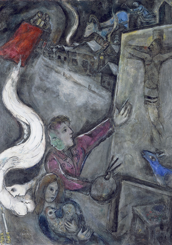 Marc Chagall, The Soul of the City, 1945, oil on canvas, 42 1/8 x 32 in. Musée National d'Art Modern Centre Georges Pompidou, Paris, gift of the artist, 1953. Art © 2013 Artists Rights Society (ARS), New York / ADAGP, Paris.  Photo: Philippe Migeat. Photo © CNAC/MNAM/Dist. RMN-Grand Palais / Art Resource, NY