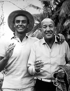 "Noel Coward with Sean Connery in Jamaica during the filming of ""Dr. No,"" the first James Bond movie."