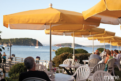 View of Frenchman Bay from the Terrace Grille at Bar Harbor Inn, Maine. Courtesy of Maine magazine.