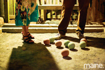 Bocce at Lompoc Cafe in Bar Harbor, Maine. Courtesy of Maine magazine.