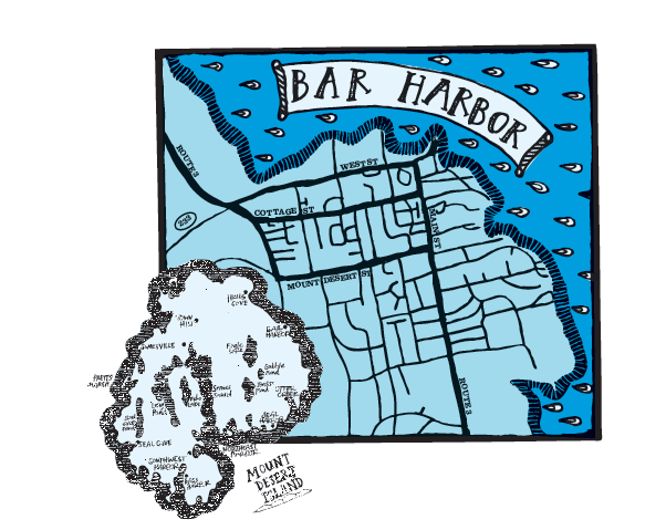 Map of Bar Harbor, Maine. Courtesy of Maine magazine
