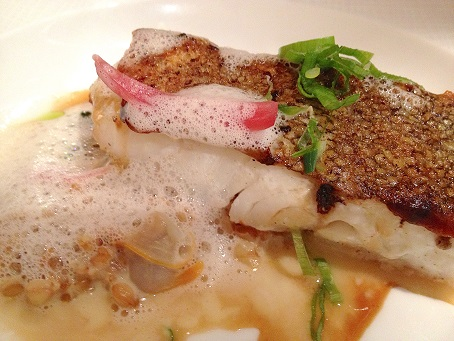 Roasted filet of cod with razor clams.
