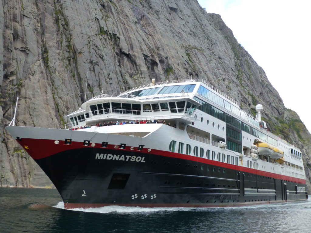 Hurtigruten's MS Midnatsol cruises through the narrow Trollfjord. Photo Monique Burns
