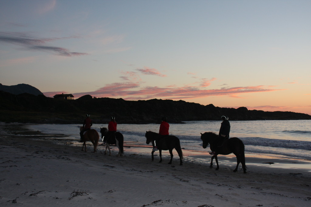 Riding along the beach at Hov Hestegard in the Lofoten Islands riding under the Midnight Sun. Photo Frode Hov