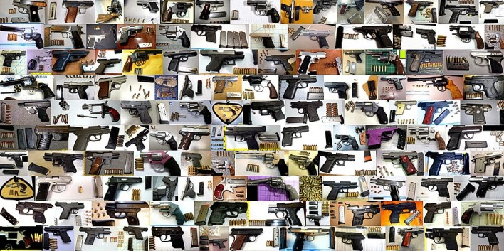 This is just a tiny sample of the handguns – most loaded – TSA officers found at airport checkpoints across the US in 2013. Photo: Blog.TSA.gov