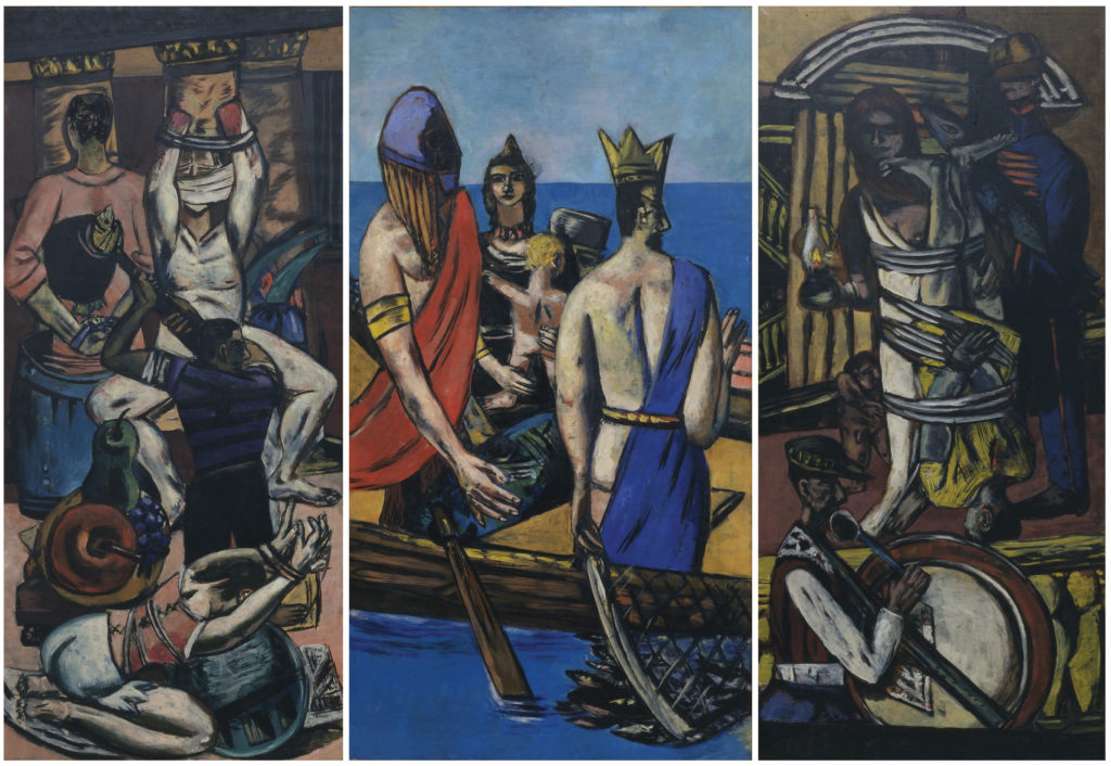 Max Beckmann (1884-1950) Departure, Frankfurt 1932, Berlin 1933-35 Oil on canvas 84 ¾ x 39 ¼ in. (215.3 x 99.7 cm) The Museum of Modern Art, New York. Given anonymously (by exchange) Digital Image © 2014 The Museum of Modern Art/Licensed by SCALA/ Art Resource, NY © 2014 Artists Rights Society (ARS), New York/VG Bild-Kunst, Bonn