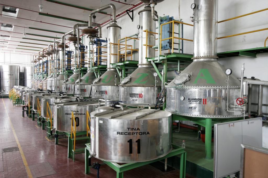 Stainless steel pot stills are used to distill tequila at Sauza's modern La Preservancia Distillery, Tequila, Jalisco, Mexico. Dave Houser Photo.
