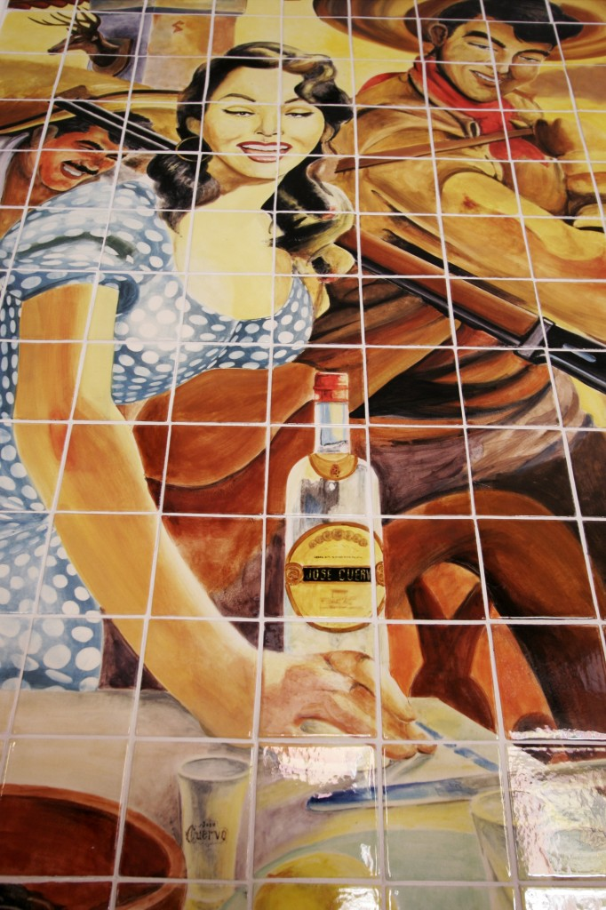 The tequila theme prevails throughout the town of the same name, as seen in this tile mural at La Fonda restaurant, Tequila, Jalisco, Mexico. Photo Dave Houser.