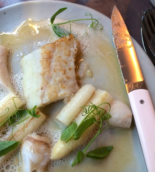 Turbot, clams and asparagus at Clown Bar