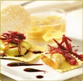 Pumpkin ravioli with balsamic vinegar in Modena