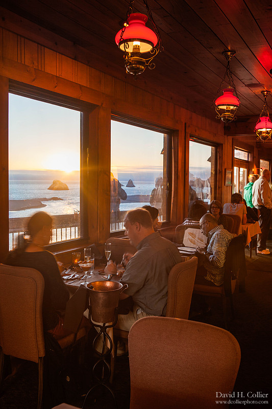 Dining room at River's End, Jenner, California