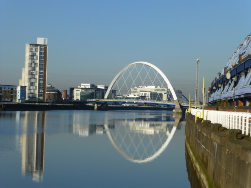 A stylish bridge across the River Clyde, Glasgow