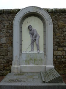 Memorial to Young Tom Morris, youngest golfer ever to win the British Open, in churchyard of St. Andrews Cathedral. Photo: Monique Burn