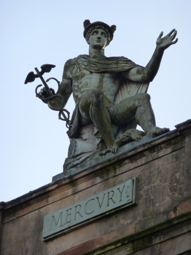 Mercury atop an ornate Glasgow building