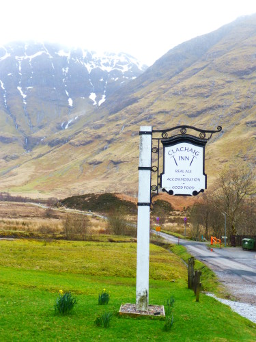 A sign for the Clachaig Inn in Glencoe, site of the infamous 1692 Massacre of the Macdonalds. Photo Monique Burns