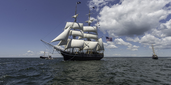 The historic whaling ship, Charles W. Morgan, at sea.