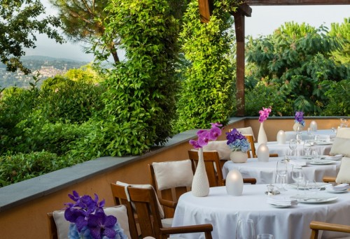 Terrace of Faventia restaurant, Terre Blanche, Provence