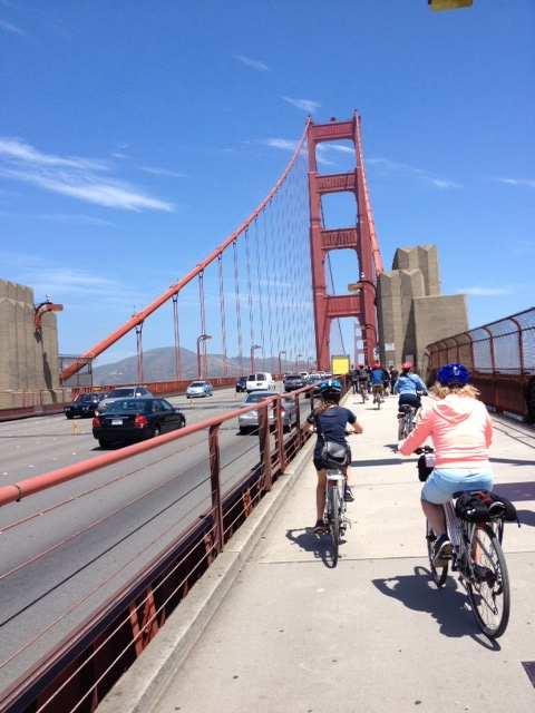 Biking across San Francisco's Golden Gate Bridge