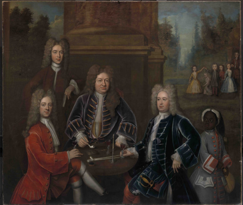 Unknown artist, Elihu Yale, the second Duke of Devonshire, Lord James Cavendish, Mr. Tunstal, and an Enslaved Servant, ca. 1708, oil on canvas, Yale Center for British Art, Gift of Andrew Cavendish, eleventh Duke of Devonshire