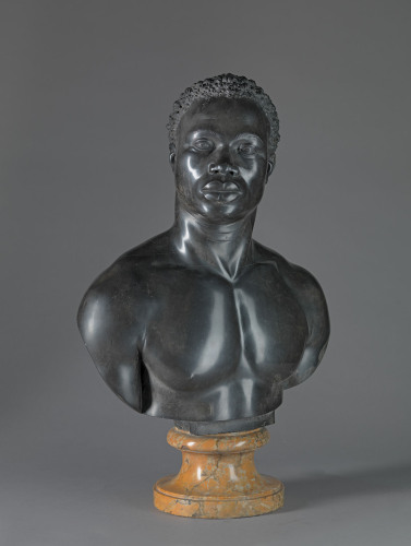 Studio of Francis Harwood, Bust of a Man, ca. 1758, black limestone on yellow marble socle, Yale Center for British Art, Paul Mellon Collection