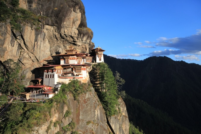 Tiger's Nest in Bhutan, which lies at 10,000 feet and was built in 1692.