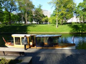 Boarding an old-world canal boat in Riga's Kronvalda Park.  Photo Monique Burns.