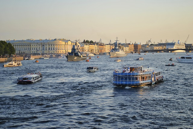 Ships of all description ply St. Petersburg's busy Neva River.