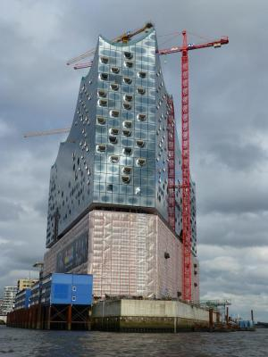 In HafenCity, the new Elbphilharmonie concert hall rises. Photo Monique Burns.